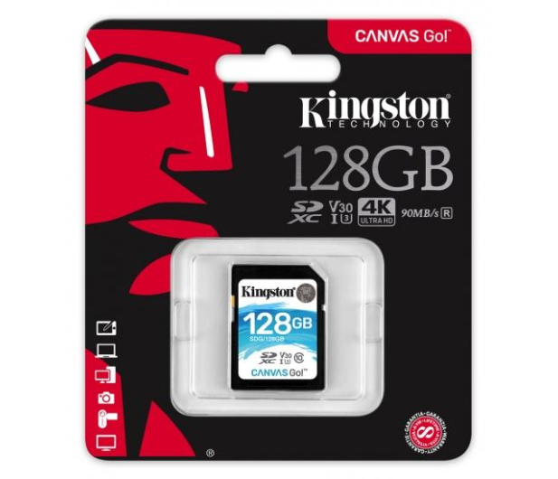 Kingston 128GB SDXC Canvas Go! 90MB/s C10 UHS-I U3  - 410720 - zdjęcie 3