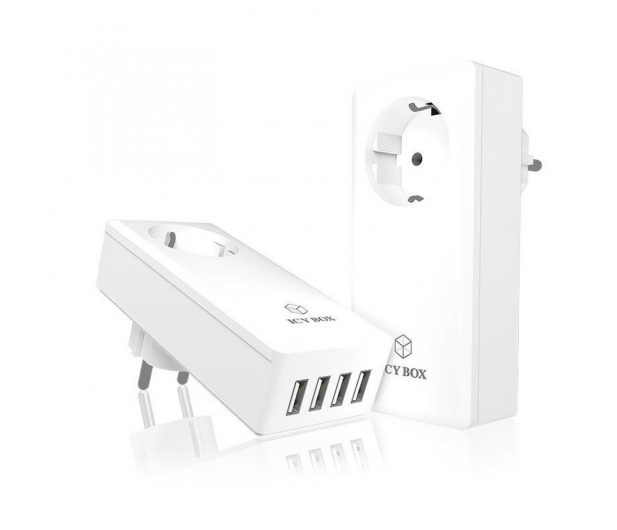 ICY BOX Ładowarka sieciowa 4 x USB 5A + gniazdo - 414599 - zdjęcie