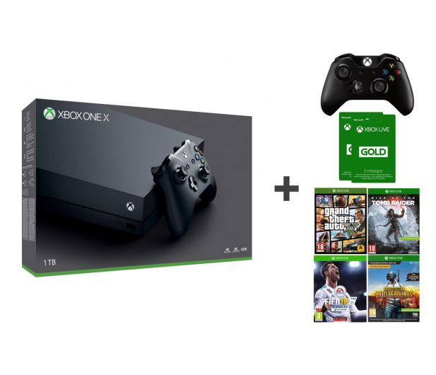 Microsoft Xbox One X 1TB + 2xPAD + 4GRY + 6M GOLD - 414074 - zdjęcie