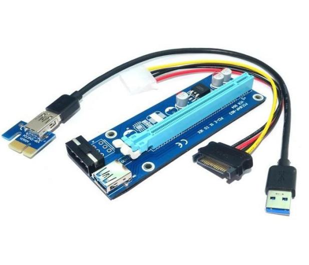 Qoltec Riser PCi-E 1x-16x USB 3.0 SATA/ IDE Molex - 425774 - zdjęcie