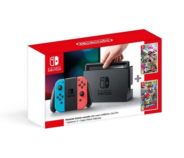 Nintendo Switch Neon + Splatoon 2 + Mario Odyssey - 420744 - zdjęcie 4