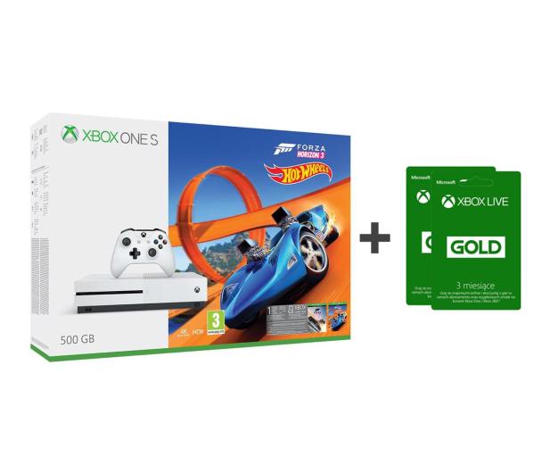 Microsoft Xbox One S 500GB Forza H3+Hot Wheels+ GOLD 6M - 384295 - zdjęcie