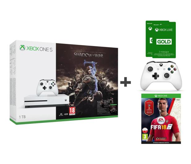 Microsoft Xbox One S 1TB Shadow Of War+PAD+FIFA 18+GOLD 6M - 429471 - zdjęcie