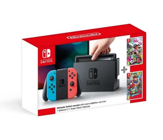 Nintendo Switch Neon + Splatoon 2 + Mario Odyssey - 420744 - zdjęcie