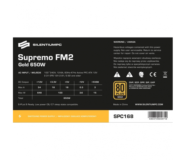 SilentiumPC Supremo FM2 650W 80 Plus Gold - 363851 - zdjęcie 7