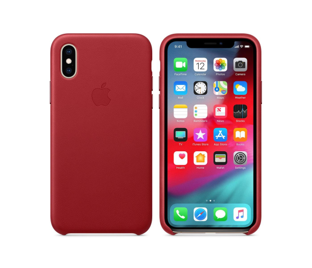 Apple iPhone XS Leather Case Product Red  - 449548 - zdjęcie