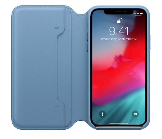 Apple iPhone XS Leather Folio Cape Cod Blue - 449569 - zdjęcie 2
