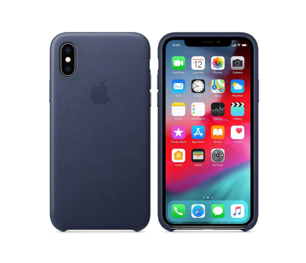 Apple iPhone XS Leather Case Midnight Blue - 449553 - zdjęcie