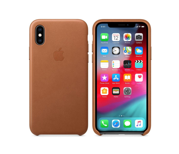 Apple iPhone XS Leather Case Saddle Brown - 449554 - zdjęcie