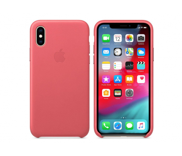 Apple iPhone XS Leather Case Peony Pink - 449590 - zdjęcie