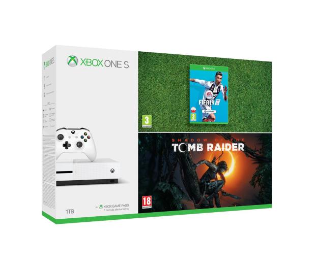 Microsoft Xbox ONE S 1TB+ SOTTR + FIFA19 - 451700 - zdjęcie
