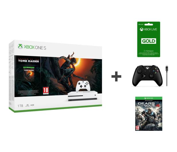 Microsoft Xbox One S 1TB SotTR+ GOW4 + Pad + 3M Xbox Live - 475442 - zdjęcie