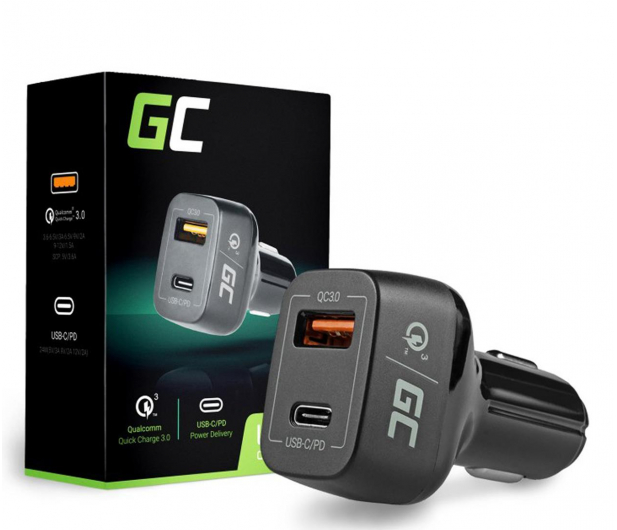Green Cell Ładowarka Samochodowa USB-C, USB (QC 3.0) - 521471 - zdjęcie