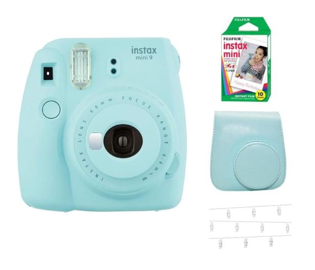 Fujifilm Instax Mini 9 niebieski Wkład+ Etui+ Klamerki  - 529456 - zdjęcie
