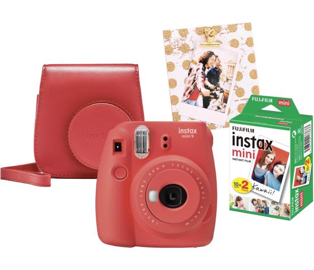 Fujifilm Instax Mini 9 czerwony wkład 2x10+Etui+Ramka  - 529250 - zdjęcie