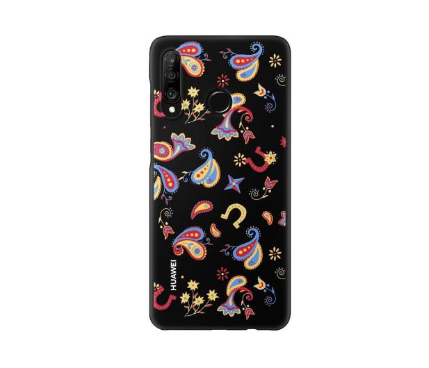Huawei Plecki Dekoracyjne do Huawei P30 Lite Flower Black - 484515 - zdjęcie 2