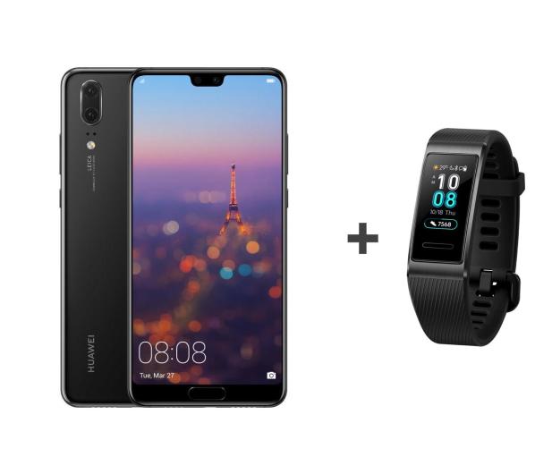 Huawei P20 Dual SIM 64GB Czarny + Band 3 Pro czarny - 500179 - zdjęcie