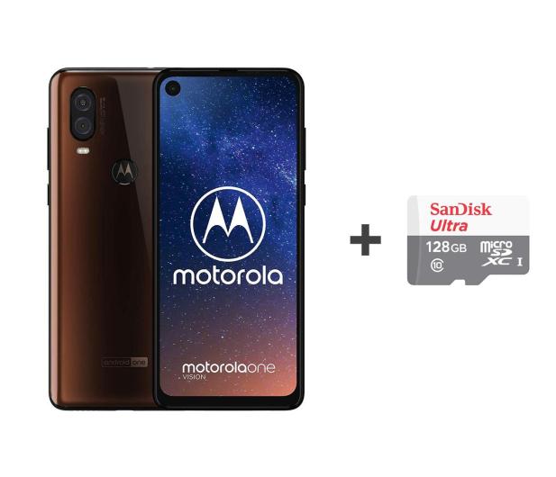 Motorola One Vision 4/128GB DS brązowy + etui + 128GB - 505789 - zdjęcie