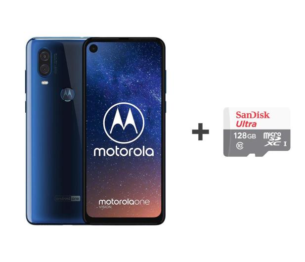 Motorola One Vision 4/128GB DS niebieski + etui + 128GB - 505791 - zdjęcie