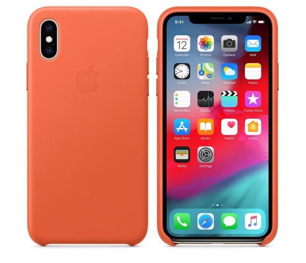 Apple iPhone XS Leather Case oranż - 506274 - zdjęcie 2