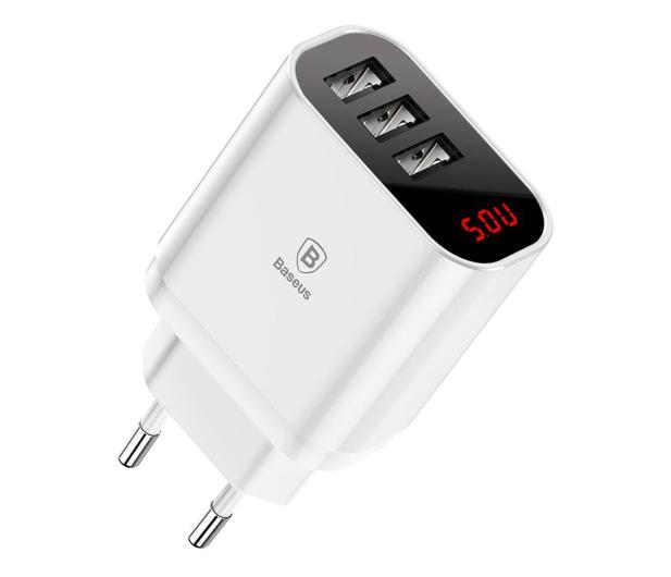 Baseus Ładowarka sieciowa 3x USB, 2.4A (biały) - 509254 - zdjęcie