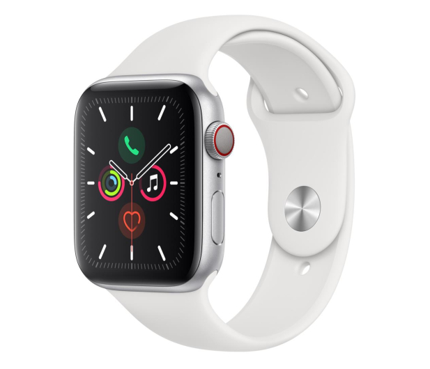 Apple Watch 5 44/Silver Aluminium/White Sport LTE - 515910 - zdjęcie
