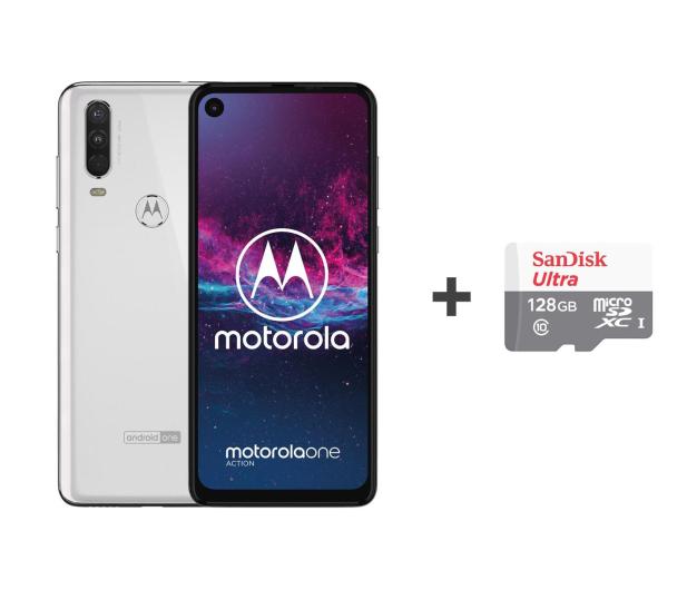 Motorola One Action 4/128GB DS biały + etui + 128GB - 515731 - zdjęcie