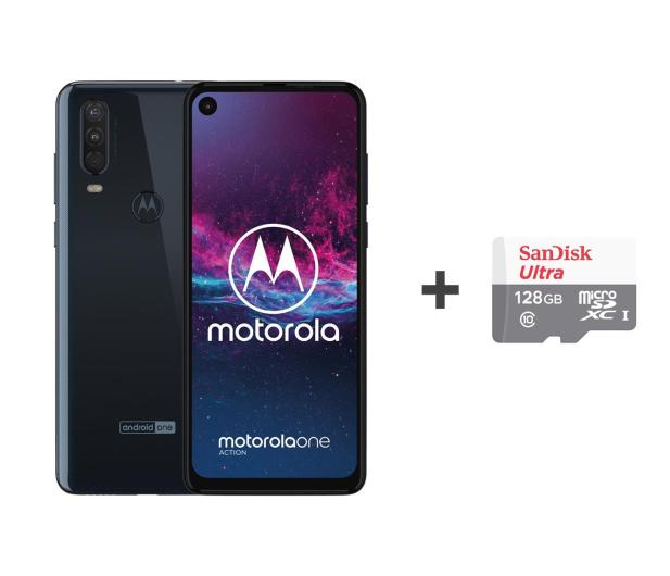 Motorola One Action 4/128GB DS granatowy + etui + 128GB - 515729 - zdjęcie