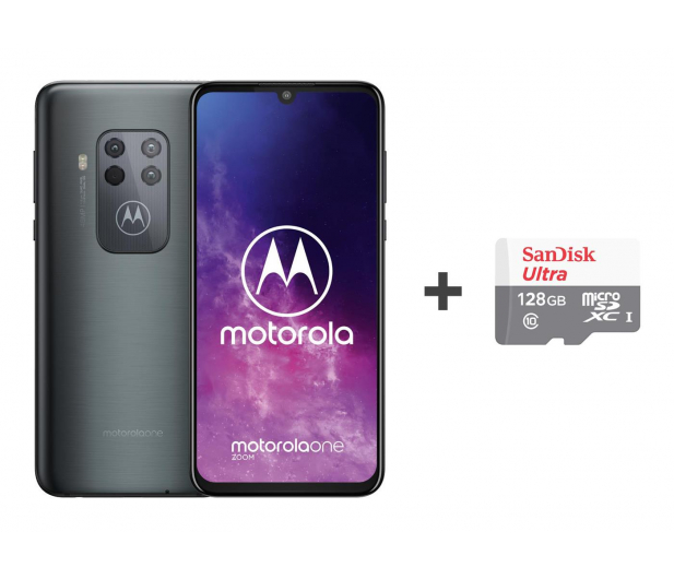 Motorola One Zoom 4/128GB DS Electric Gray + etui + 128GB - 515734 - zdjęcie