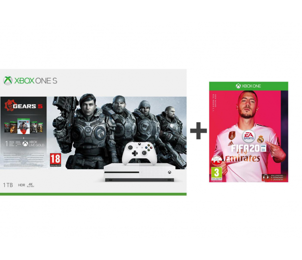 Microsoft Xbox One S 1TB + GoW 5 + Fifa 20 - 518524 - zdjęcie