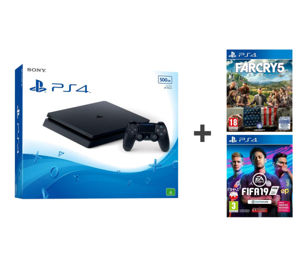 Sony PlayStation 4 Slim 500GB + FIFA 19 + Far Cry 5 - 513624 - zdjęcie 1