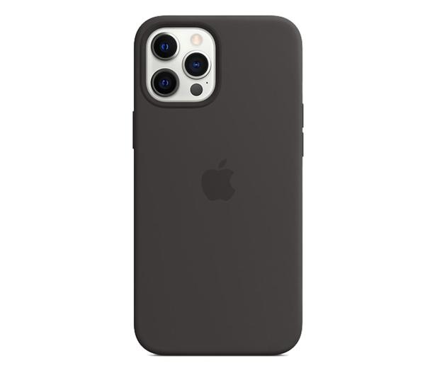 Apple Silikonowe etui iPhone 12 Pro Max czarne - 598785 - zdjęcie