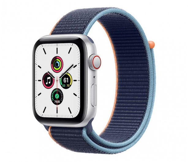 Apple Watch SE 44/Silver Aluminium/Deep Navy Sport LTE - 595345 - zdjęcie
