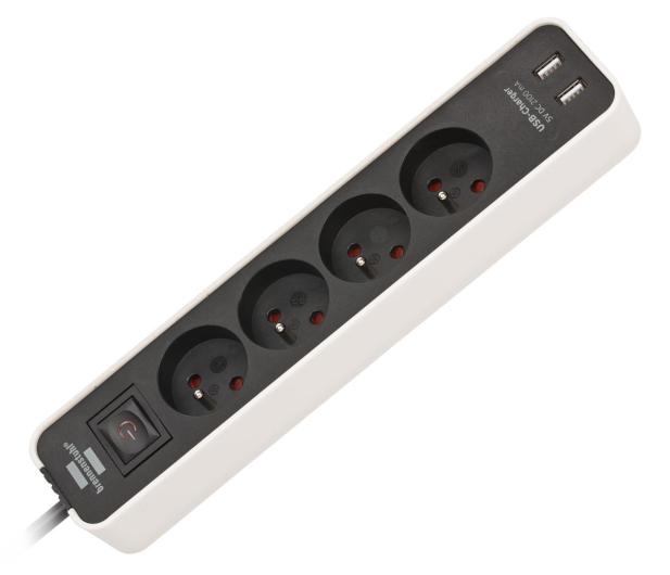 Brennenstuhl Ecolor - 4 gniazda, 2x USB, 1.5m, biało-czarna - 603875 - zdjęcie