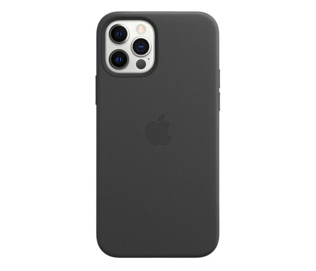 Apple Skórzane etui iPhone 12|12Pro czarne - 607221 - zdjęcie
