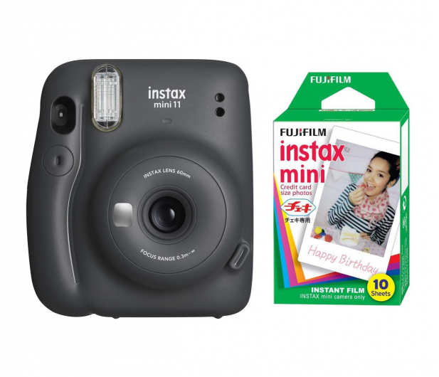 Fujifilm Instax Mini 11 szary + wkłady (10 zdjęć) - 606745 - zdjęcie