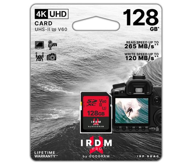 GOODRAM 128GB SDXC IRDM PRO 265MB/s UHS-II U3 V60 - 604913 - zdjęcie 3