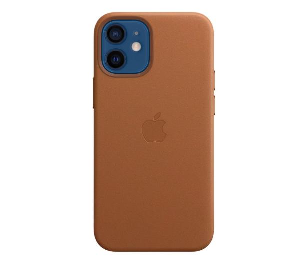 Apple Skórzane etui iPhone 12 mini naturalny brąz - 604812 - zdjęcie