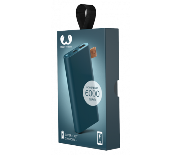 Fresh N Rebel Power Bank 6000 mAh (USB-C, Petrol Blue) - 545692 - zdjęcie 2