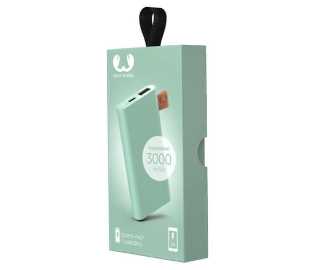 Fresh N Rebel Power Bank 3000 mAh (USB-C, Misty Mint) - 545684 - zdjęcie 2