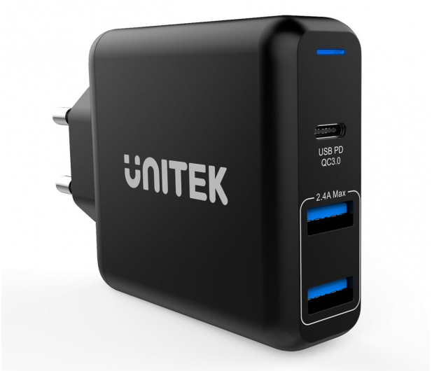 Unitek Ładowarka sieciowa 2x USB 2,4A + QC 3.0 60W PD - 538704 - zdjęcie