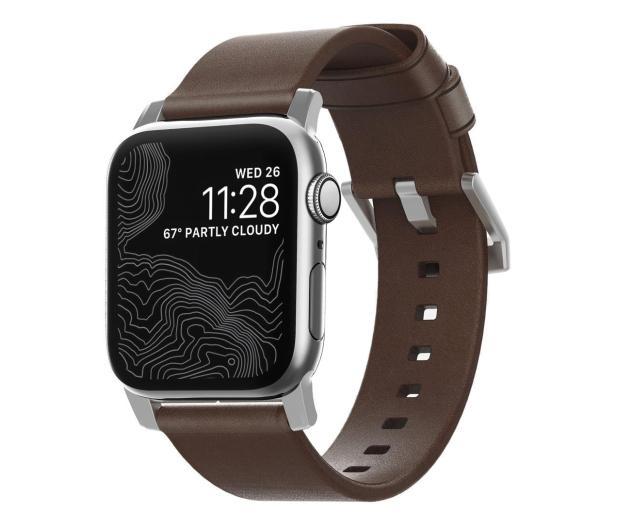Nomad Pasek Skórzany do Apple Watch brązowo-srebrny - 540750 - zdjęcie