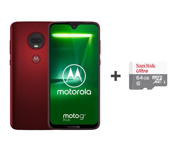 Motorola Moto G7 Plus 4/64GB DS czerwony + etui + 64GB - 488349 - zdjęcie