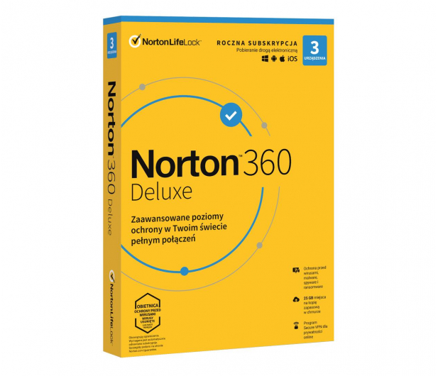 NortonLifeLock Deluxe 3st. (12m.) ESD - 563500 - zdjęcie
