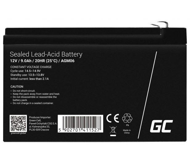 Green Cell Akumulator AGM  12V 9Ah - 547918 - zdjęcie 2
