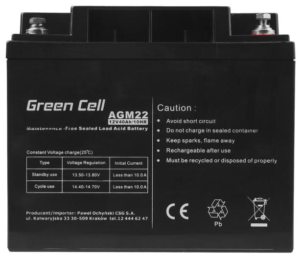 Green Cell Akumulator AGM VRLA  12V 40Ah - 547937 - zdjęcie 2