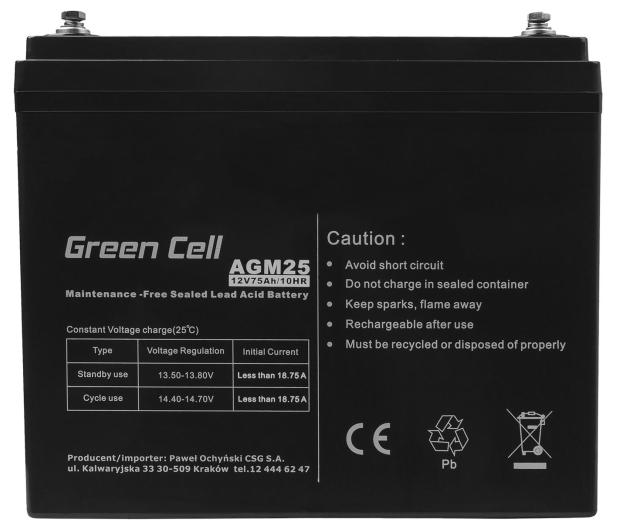 Green Cell Akumulator AGM VRLA  12V 75Ah - 547940 - zdjęcie 2