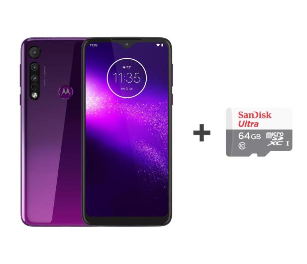 Motorola One Macro 4/64GB DS IPX2 Ultra Violet +etui +64GB - 530646 - zdjęcie