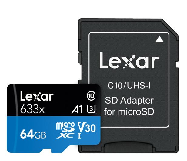 Lexar 64GB microSDXC High-Performance 633x UHS-I A1 V30 - 603804 - zdjęcie