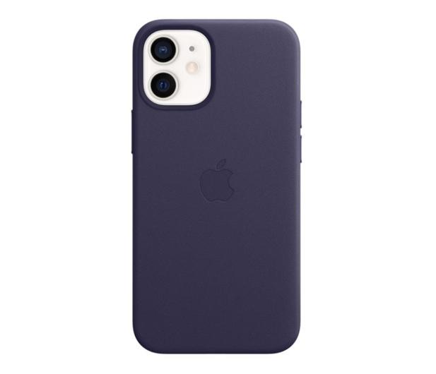Apple Skórzane etui iPhone 12 mini ciemny fiolet - 648982 - zdjęcie